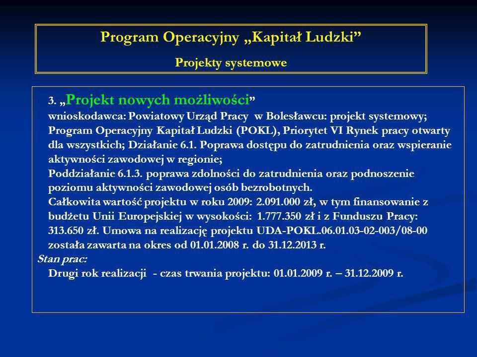 3. Projekt nowych możliwości wnioskodawca: Powiatowy Urząd Pracy w Bolesławcu: projekt systemowy; Program Operacyjny Kapitał Ludzki (POKL), Priorytet