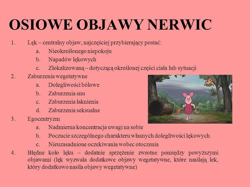 OSIOWE OBJAWY NERWIC 1.Lęk – centralny objaw, najczęściej przybierający postać: a.Nieokreślonego niepokoju b.Napadów lękowych c.Zlokalizowaną – dotycz
