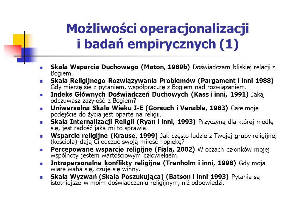 Możliwości operacjonalizacji i badań empirycznych (1) Skala Wsparcia Duchowego (Maton, 1989b) Doświadczam bliskiej relacji z Bogiem. Skala Religijnego
