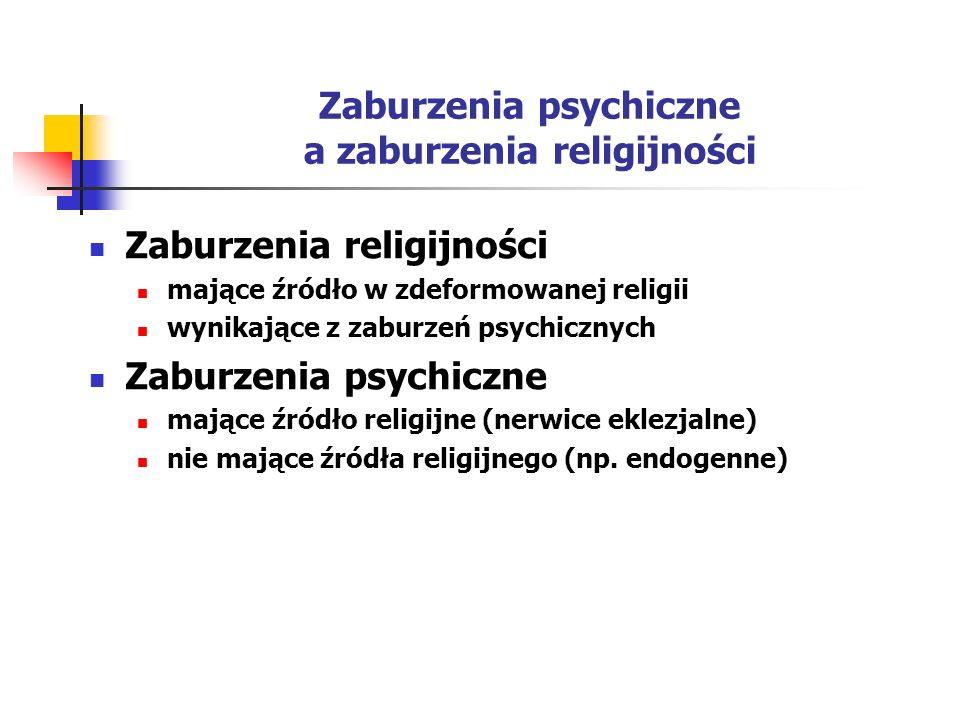 Zaburzenia psychiczne a zaburzenia religijności Zaburzenia religijności mające źródło w zdeformowanej religii wynikające z zaburzeń psychicznych Zabur