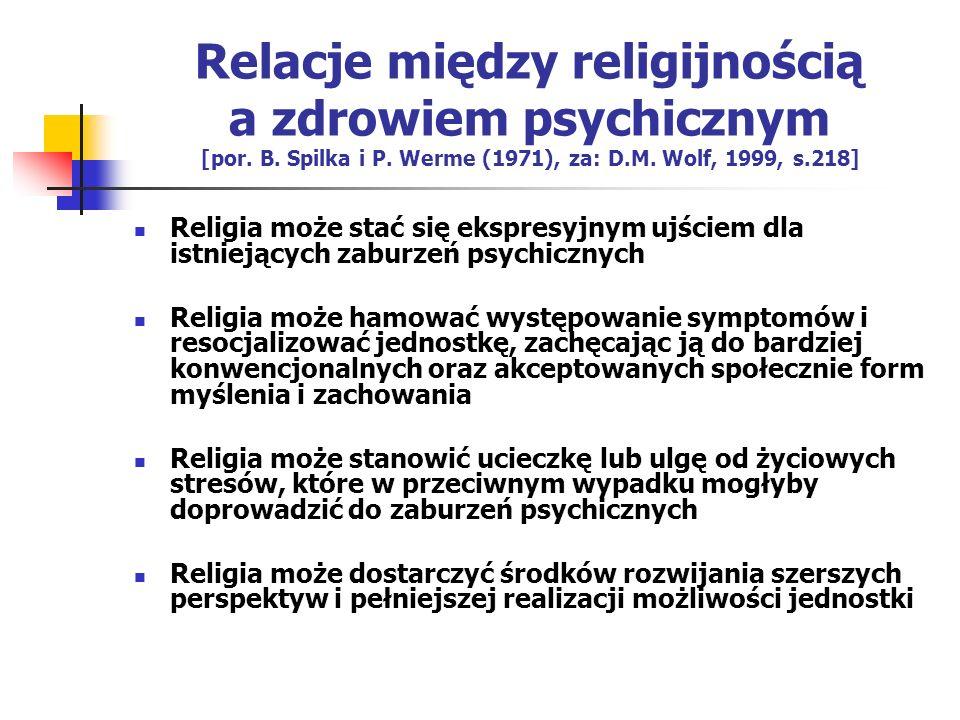 Relacje między religijnością a zdrowiem psychicznym [por. B. Spilka i P. Werme (1971), za: D.M. Wolf, 1999, s.218] Religia może stać się ekspresyjnym