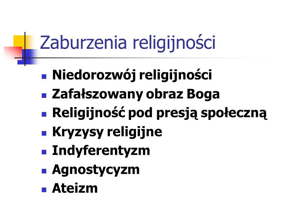Zaburzenia religijności Niedorozwój religijności Zafałszowany obraz Boga Religijność pod presją społeczną Kryzysy religijne Indyferentyzm Agnostycyzm