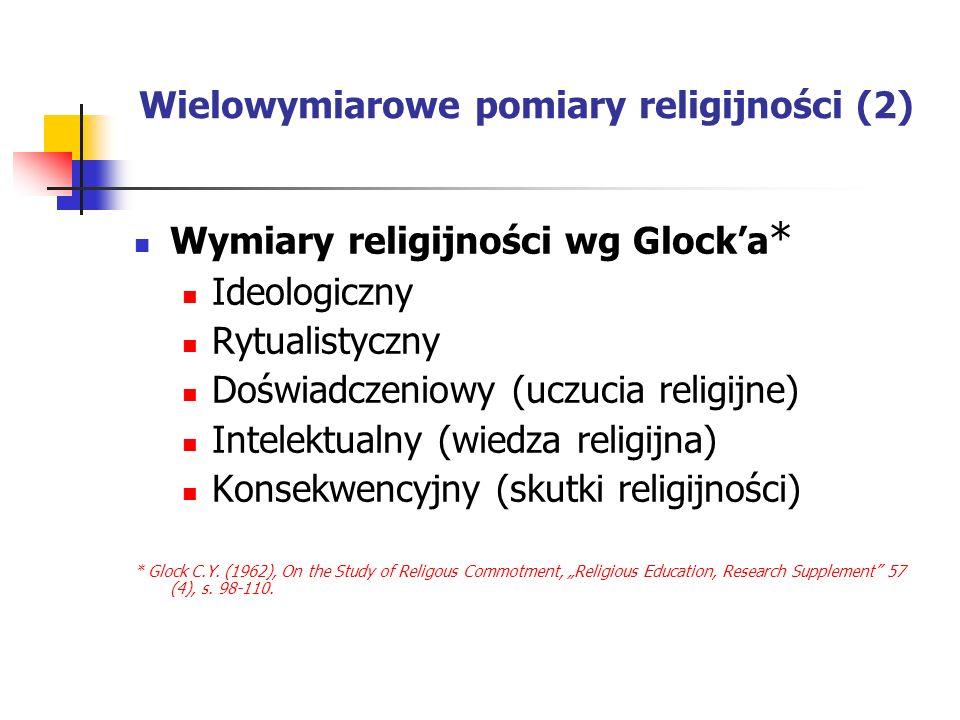Wielowymiarowe pomiary religijności (2) Wymiary religijności wg Glocka * Ideologiczny Rytualistyczny Doświadczeniowy (uczucia religijne) Intelektualny