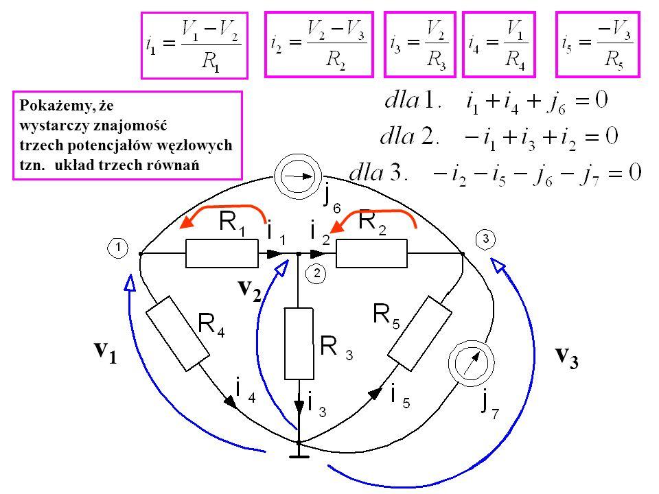 v1v1 v3v3 v2v2 Pokażemy, że wystarczy znajomość trzech potencjałów węzłowych tzn. układ trzech równań