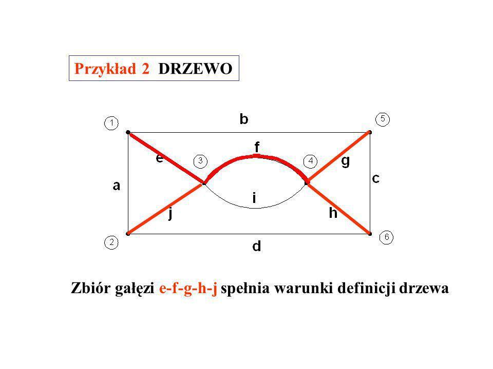 Zbiór gałęzi e-f-g-c-d spełnia warunki definicji drzewa Przykład 1 DRZEWO