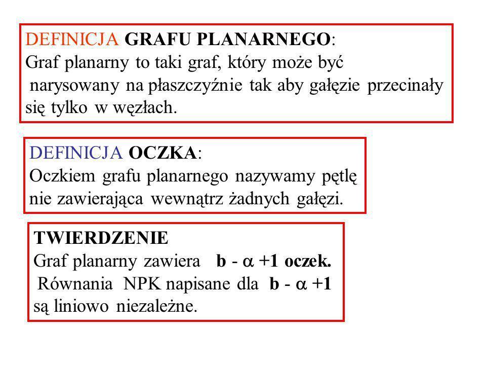 Twierdzenia dotyczące PRAW KIRCHHOFFA (1) Maksymalna liczba równań liniowo niezależnych otrzymanych z PPK wynosi Równania te można napisać stosując PPK do fundamentalnych przekrojów.