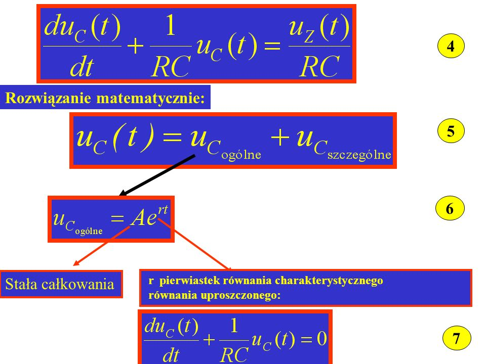 4 5 Rozwiązanie matematycznie: 6 Stała całkowania r pierwiastek równania charakterystycznego równania uproszczonego: 7