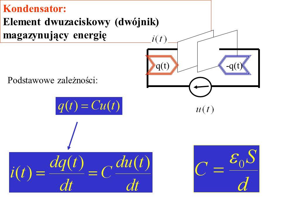 Kondensator: Element dwuzaciskowy (dwójnik) magazynujący energię q(t)-q(t) Podstawowe zależności: