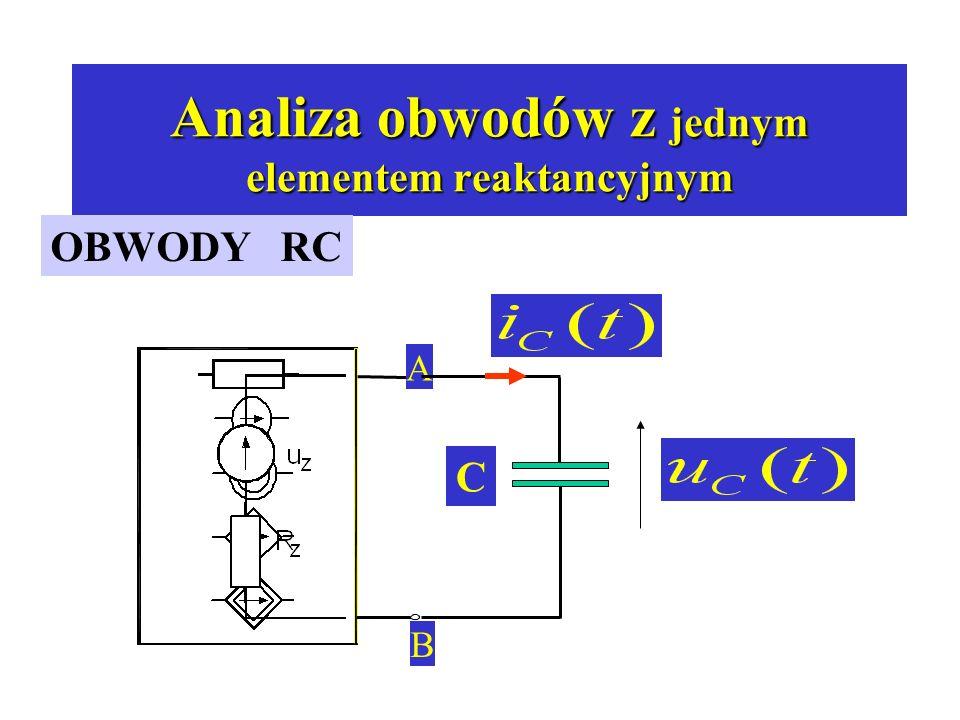 Analiza obwodów z jednym elementem reaktancyjnym OBWODY RC A B C