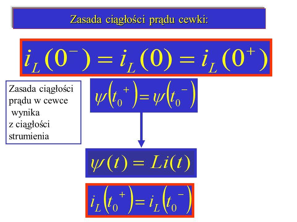 Zasada ciągłości prądu w cewce wynika z ciągłości strumienia Zasada ciągłości prądu cewki: