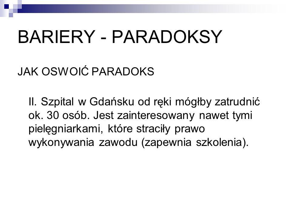 BARIERY - PARADOKSY JAK OSWOIĆ PARADOKS II. Szpital w Gdańsku od ręki mógłby zatrudnić ok. 30 osób. Jest zainteresowany nawet tymi pielęgniarkami, któ