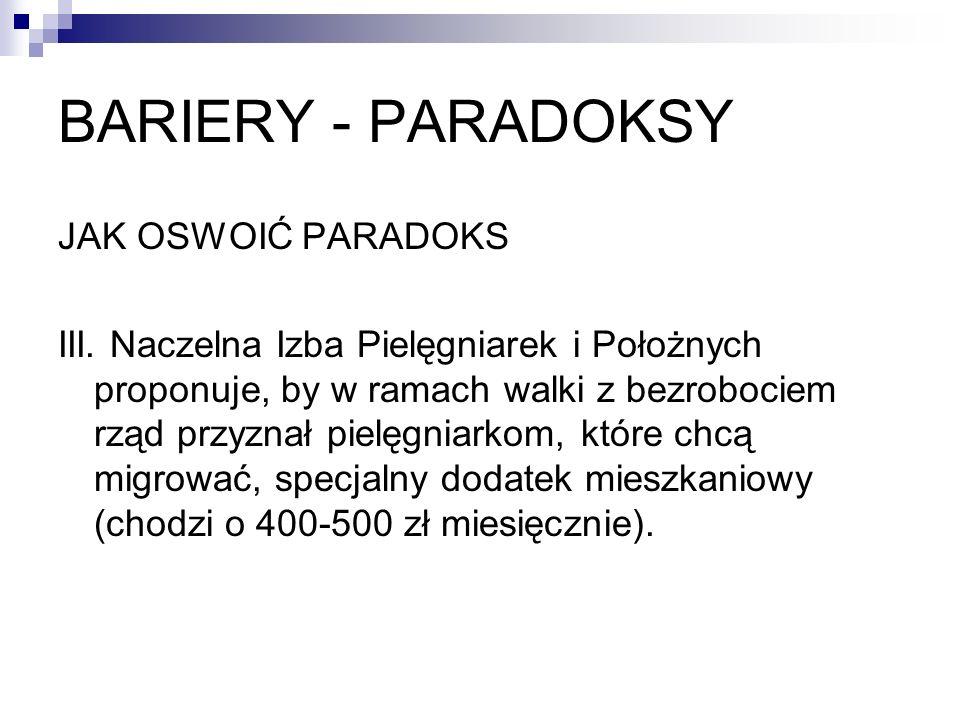 BARIERY - PARADOKSY JAK OSWOIĆ PARADOKS III. Naczelna Izba Pielęgniarek i Położnych proponuje, by w ramach walki z bezrobociem rząd przyznał pielęgnia