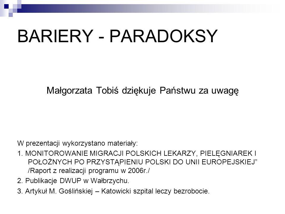 BARIERY - PARADOKSY Małgorzata Tobiś dziękuje Państwu za uwagę W prezentacji wykorzystano materiały: 1. MONITOROWANIE MIGRACJI POLSKICH LEKARZY, PIELĘ