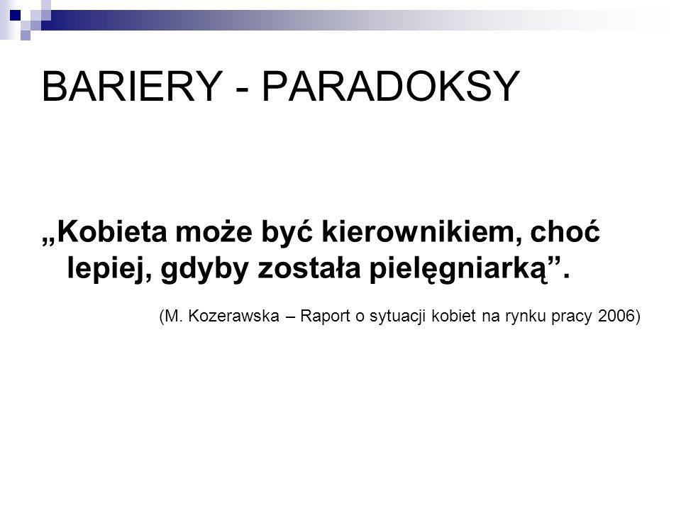 BARIERY - PARADOKSY Kobieta może być kierownikiem, choć lepiej, gdyby została pielęgniarką. (M. Kozerawska – Raport o sytuacji kobiet na rynku pracy 2