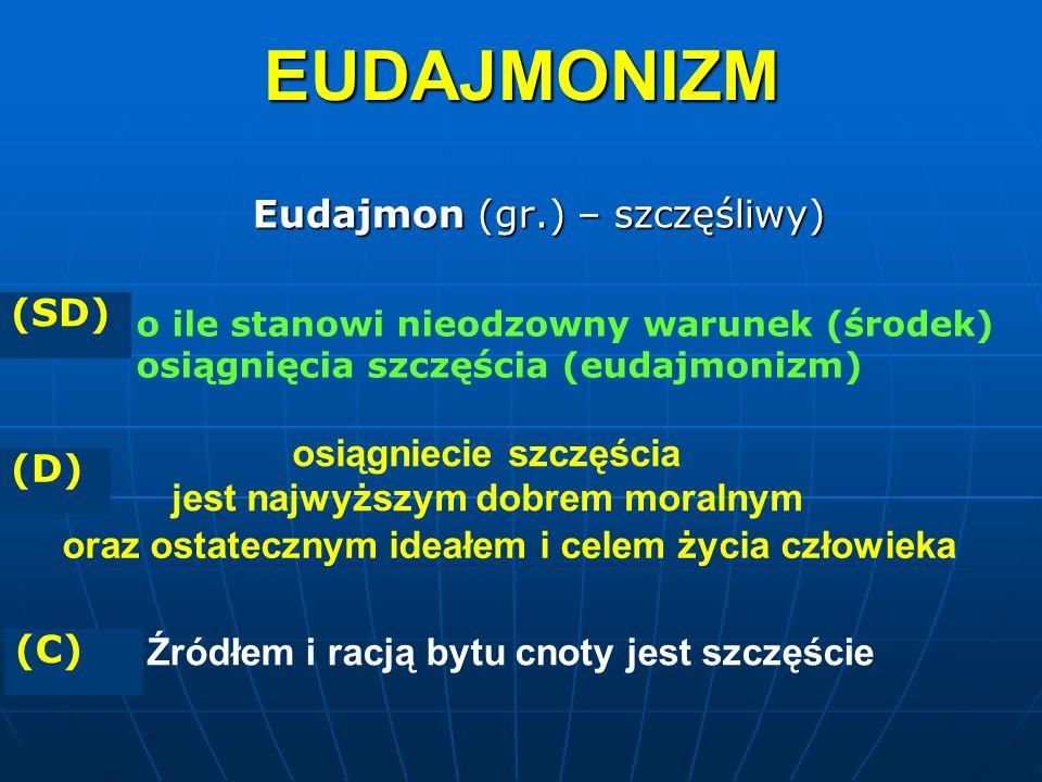 Eudajmon (gr.) – szczęśliwy) osiągniecie szczęścia jest najwyższym dobrem moralnym EUDAJMONIZM oraz ostatecznym ideałem i celem życia człowieka o ile