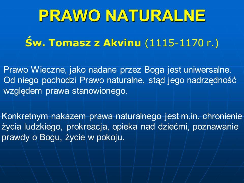 PRAWO NATURALNE Św. Tomasz z Akvinu (1115-1170 r.) Prawo Wieczne, jako nadane przez Boga jest uniwersalne. Od niego pochodzi Prawo naturalne, stąd jeg