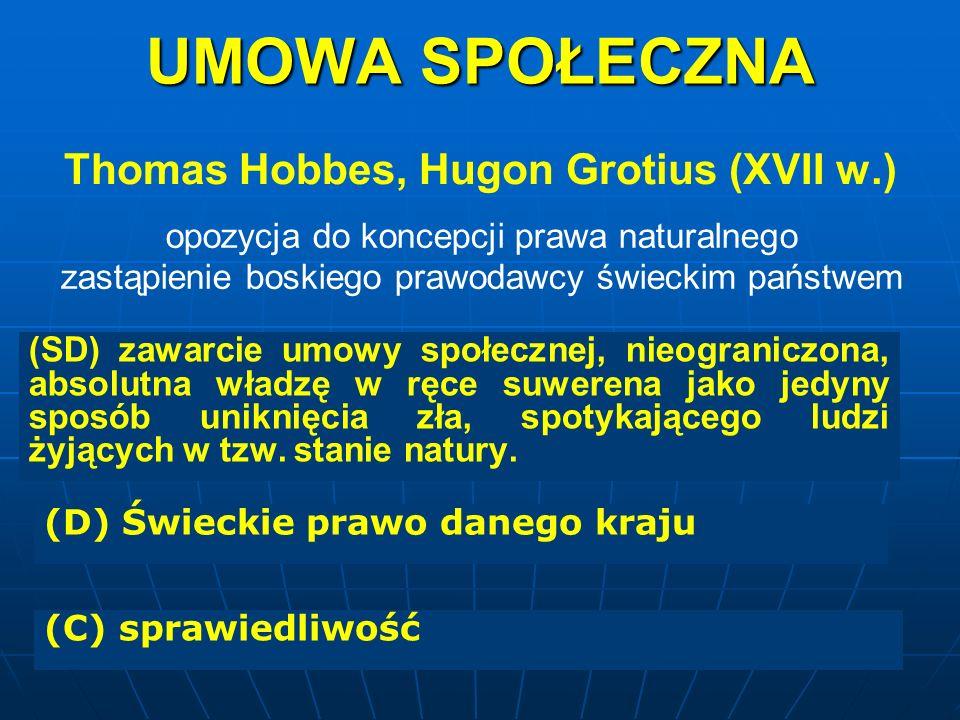 UMOWA SPOŁECZNA Thomas Hobbes, Hugon Grotius (XVII w.) opozycja do koncepcji prawa naturalnego zastąpienie boskiego prawodawcy świeckim państwem (SD)