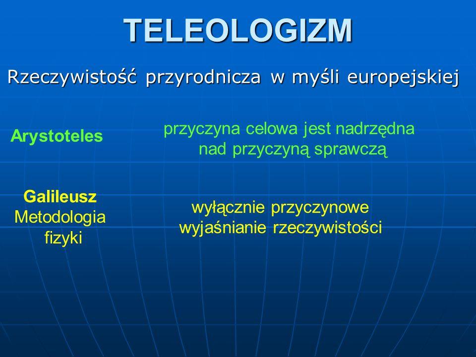TELEOLOGIZM Arystoteles Rzeczywistość przyrodnicza w myśli europejskiej przyczyna celowa jest nadrzędna nad przyczyną sprawczą Galileusz Metodologia f