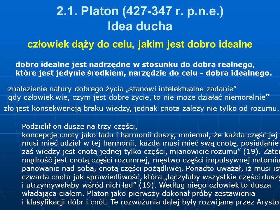 2.1. Platon (427-347 r. p.n.e.) Idea ducha człowiek dąży do celu, jakim jest dobro idealne dobro idealne jest nadrzędne w stosunku do dobra realnego,