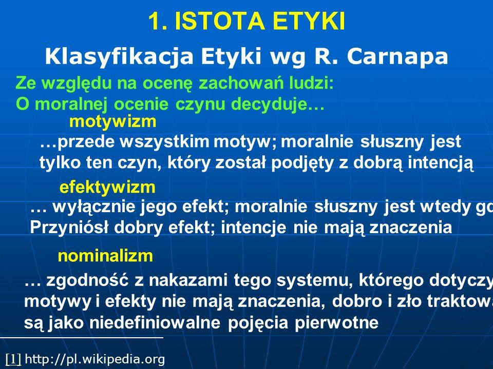 1. ISTOTA ETYKI Klasyfikacja Etyki wg R. Carnapa [1][1] http://pl.wikipedia.org motywizm Ze względu na ocenę zachowań ludzi: O moralnej ocenie czynu d