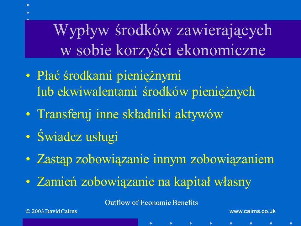 © 2003 David Cairnswww.cairns.co.uk Wypływ środków zawierających w sobie korzyści ekonomiczne Płać środkami pieniężnymi lub ekwiwalentami środków pieniężnych Transferuj inne składniki aktywów Świadcz usługi Zastąp zobowiązanie innym zobowiązaniem Zamień zobowiązanie na kapitał własny Outflow of Economic Benefits