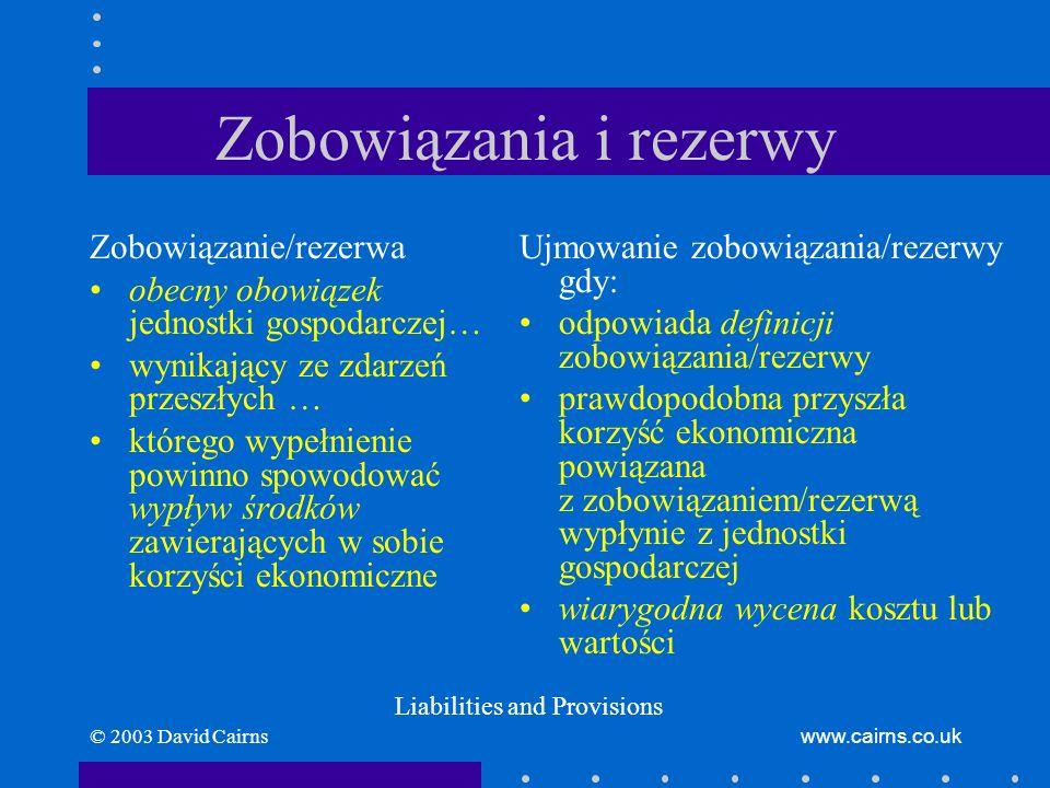 © 2003 David Cairnswww.cairns.co.uk Zobowiązania i rezerwy Zobowiązanie/rezerwa obecny obowiązek jednostki gospodarczej… wynikający ze zdarzeń przeszł