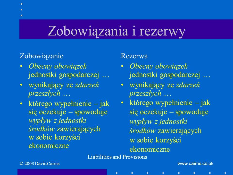 © 2003 David Cairnswww.cairns.co.uk Zobowiązania i rezerwy Zobowiązanie Obecny obowiązek jednostki gospodarczej … wynikający ze zdarzeń przeszłych … k