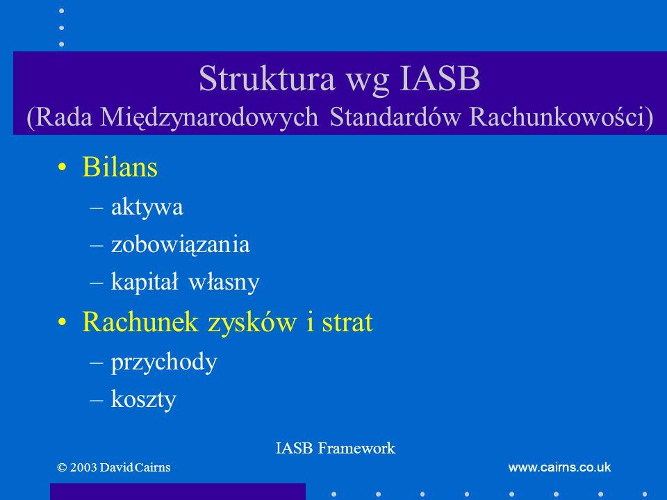 © 2003 David Cairnswww.cairns.co.uk Struktura wg IASB (Rada Międzynarodowych Standardów Rachunkowości) Bilans –aktywa –zobowiązania –kapitał własny Ra