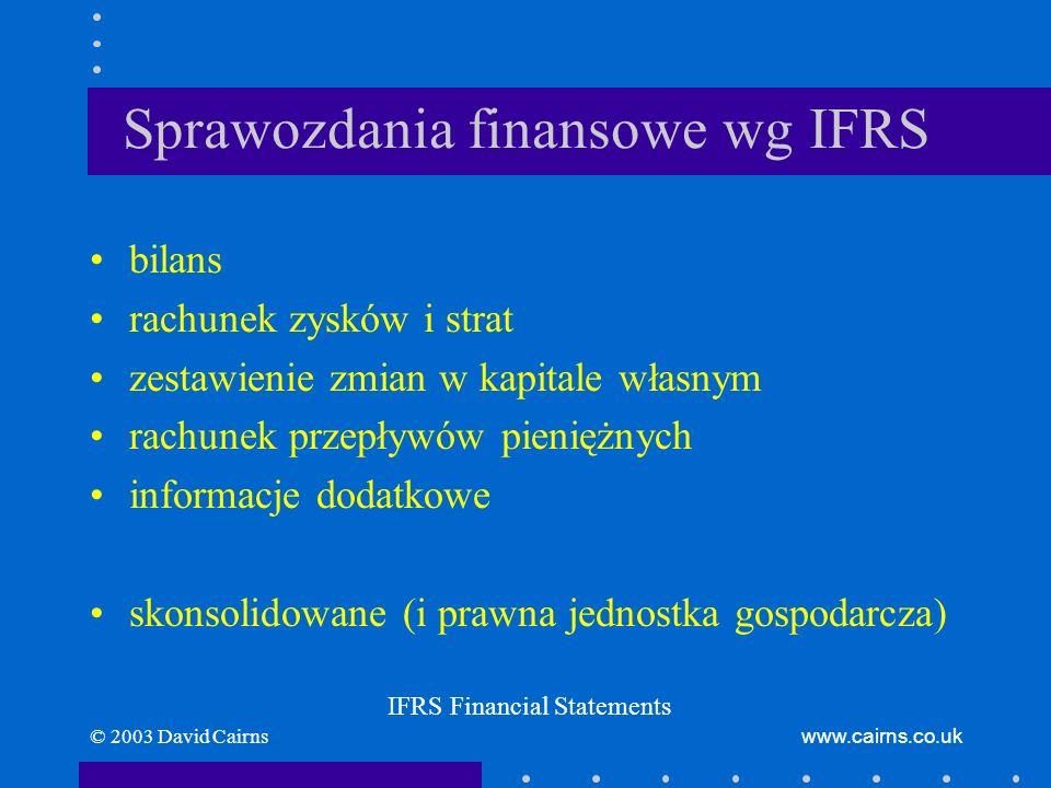 © 2003 David Cairnswww.cairns.co.uk Sprawozdania finansowe wg IFRS Cel –dostarczają informacji o sytuacji finansowej, wynikach działalności, przepływach pieniężnych –są przydatne dla szerokiego kręgu użytkowników w procesie podejmowania decyzji gospodarczych IFRS Financial Statements