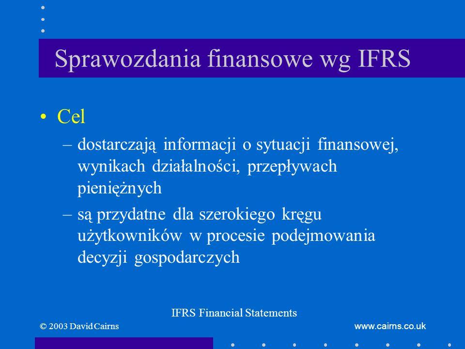 © 2003 David Cairnswww.cairns.co.uk Sprawozdania finansowe wg IFRS Zasady IFRS przewyższają –zasady podatkowe –zasady dotyczące podziału zysku –regulacje bankowe i ubezpieczeniowe –zasady finansowania systemów emerytalnych –krajowe GAAP (przyjęte zasady rachunkowości) Przygotowywanie różnych sprawozdań finansowych dla różnych celów.