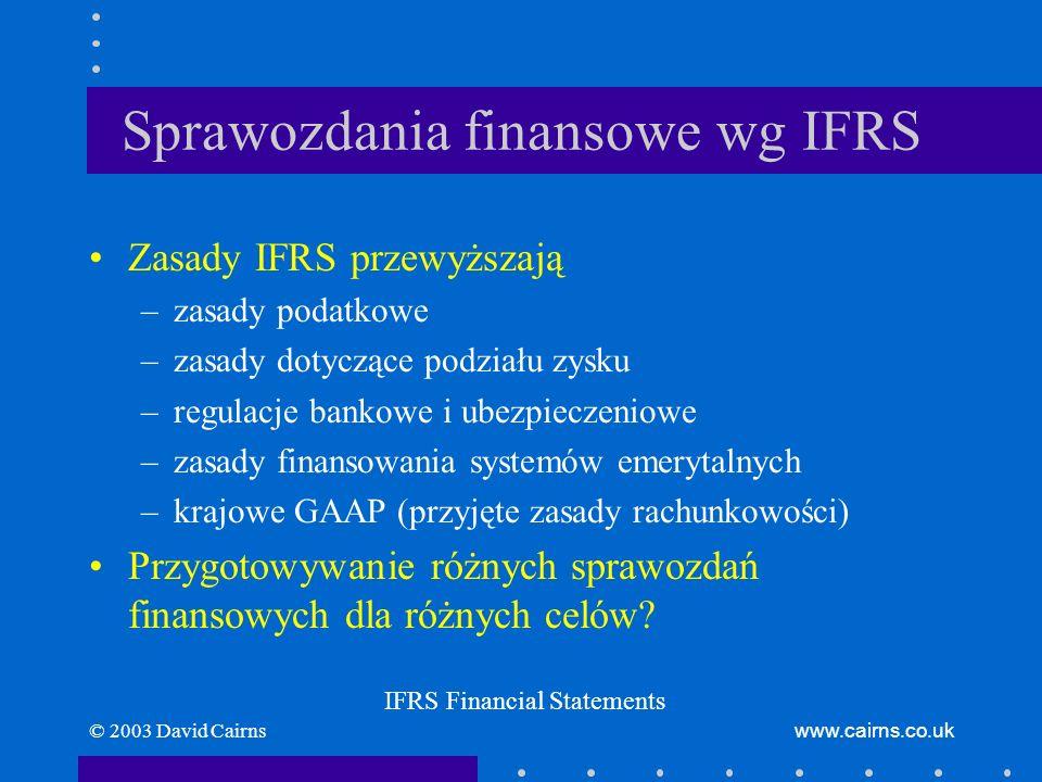 © 2003 David Cairnswww.cairns.co.uk Rzetelna prezentacja Sprawozdania finansowe powinny: –rzetelnie przedstawiać sytuację finansową, wyniki działalności i przepływy pieniężne Stosowanie IFRS wraz z prawidłowym ujawnianiem: –rzeczywiście zawsze prowadzi do rzetelnej prezentacji Polityka rachunkowości –powinna być zgodna z IFRS Fair Presentation