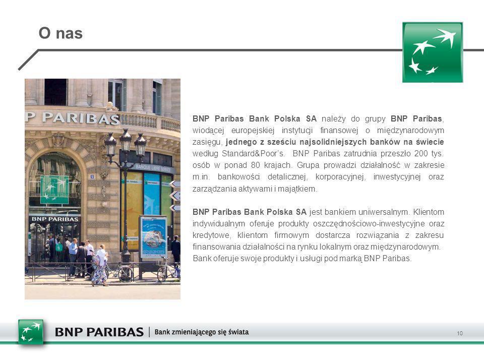 BNP Paribas Bank Polska SA należy do grupy BNP Paribas, wiodącej europejskiej instytucji finansowej o międzynarodowym zasięgu, jednego z sześciu najso