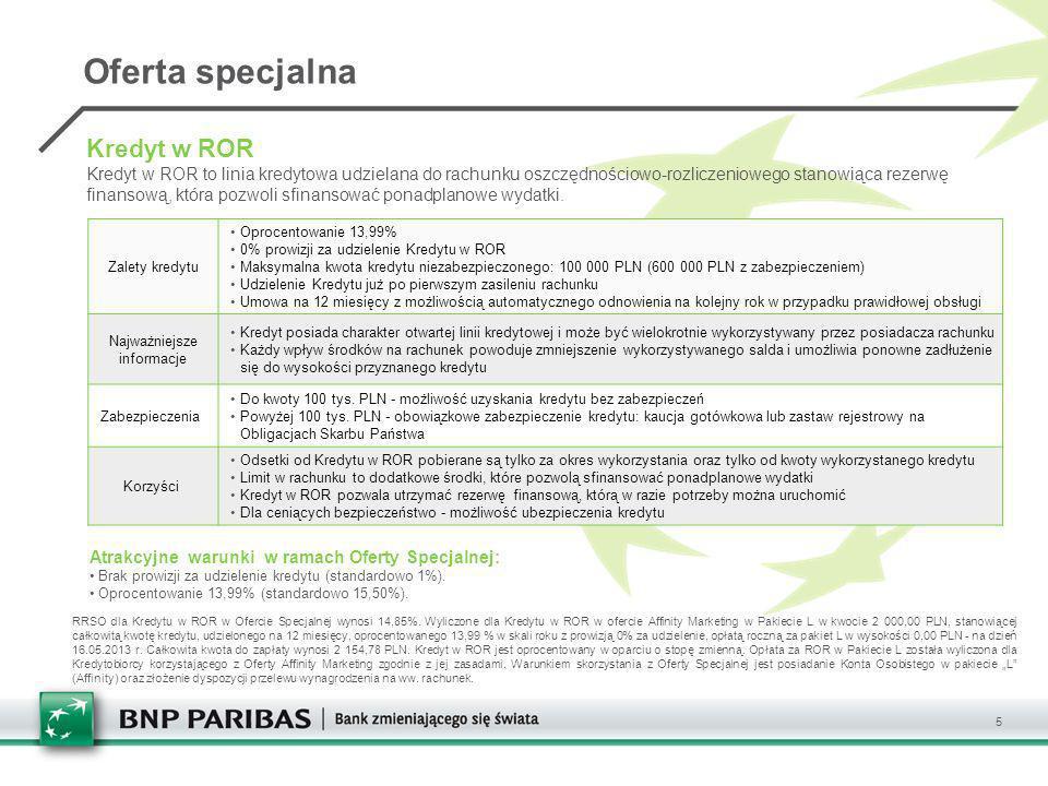 5 Zalety kredytu Oprocentowanie 13,99% 0% prowizji za udzielenie Kredytu w ROR Maksymalna kwota kredytu niezabezpieczonego: 100 000 PLN (600 000 PLN z