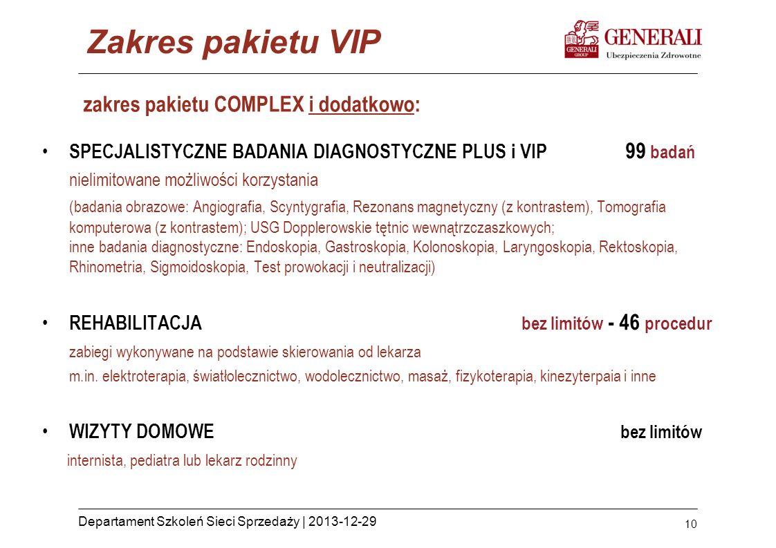 10 Departament Szkoleń Sieci Sprzedaży | 2013-12-29 zakres pakietu COMPLEX i dodatkowo: SPECJALISTYCZNE BADANIA DIAGNOSTYCZNE PLUS i VIP 99 badań niel