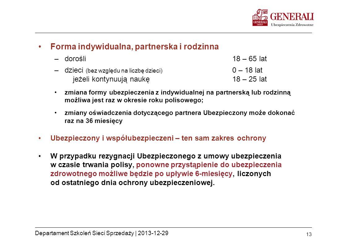 13 Departament Szkoleń Sieci Sprzedaży | 2013-12-29 Forma indywidualna, partnerska i rodzinna –dorośli18 – 65 lat –dzieci (bez względu na liczbę dziec