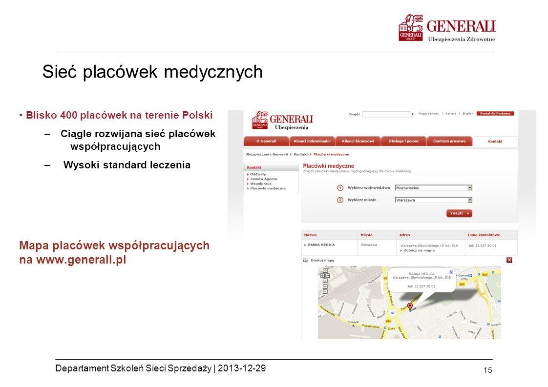 15 Departament Szkoleń Sieci Sprzedaży | 2013-12-29 Sieć placówek medycznych Blisko 400 placówek na terenie Polski –Ciągle rozwijana sieć placówek wsp
