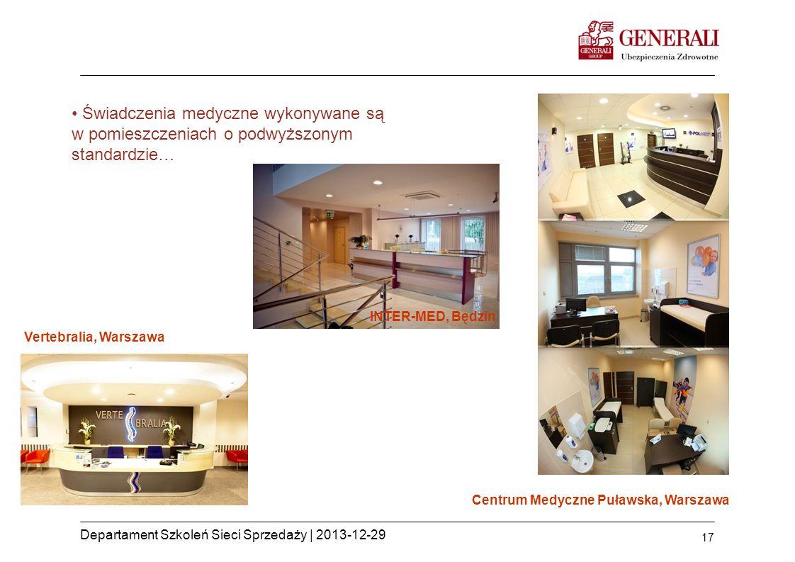 17 Departament Szkoleń Sieci Sprzedaży | 2013-12-29 Świadczenia medyczne wykonywane są w pomieszczeniach o podwyższonym standardzie… INTER-MED, Będzin