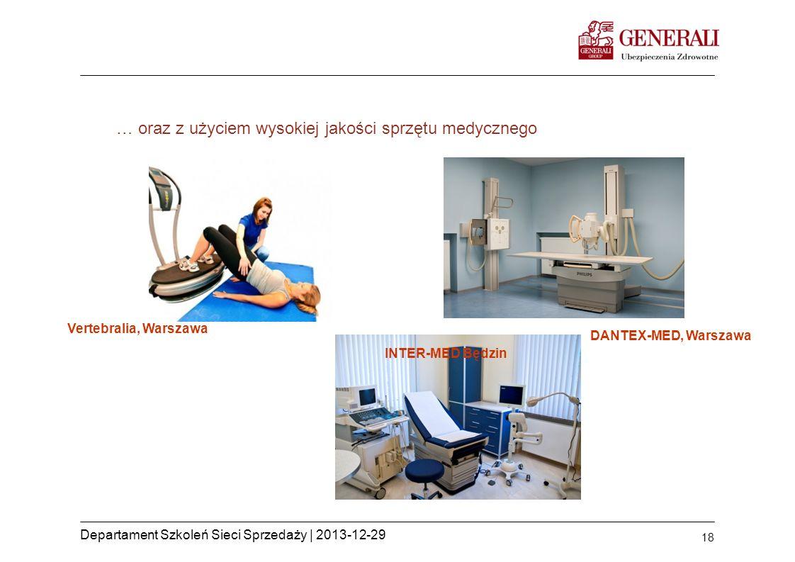 18 Departament Szkoleń Sieci Sprzedaży | 2013-12-29 … oraz z użyciem wysokiej jakości sprzętu medycznego Vertebralia, Warszawa INTER-MED Będzin DANTEX