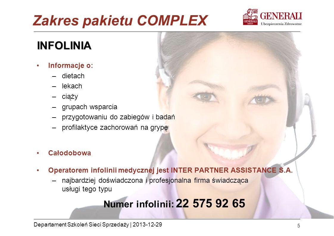 5 Departament Szkoleń Sieci Sprzedaży | 2013-12-29 INFOLINIA Informacje o: –dietach –lekach –ciąży –grupach wsparcia –przygotowaniu do zabiegów i bada