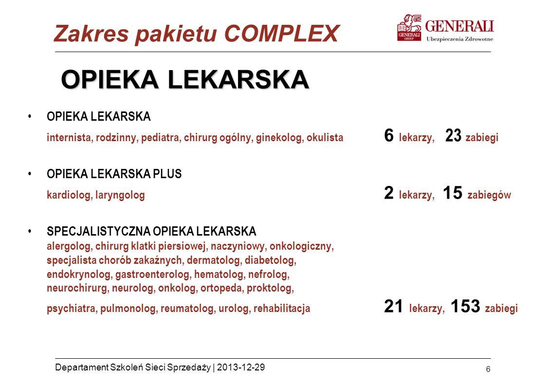 6 Departament Szkoleń Sieci Sprzedaży | 2013-12-29 OPIEKA LEKARSKA OPIEKA LEKARSKA internista, rodzinny, pediatra, chirurg ogólny, ginekolog, okulista