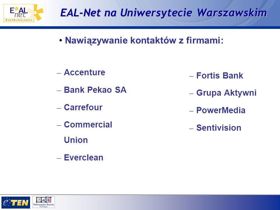 EAL-Net na Uniwersytecie Warszawskim – Accenture – Bank Pekao SA – Carrefour – Commercial Union – Everclean – Fortis Bank – Grupa Aktywni – PowerMedia – Sentivision Nawiązywanie kontaktów z firmami: