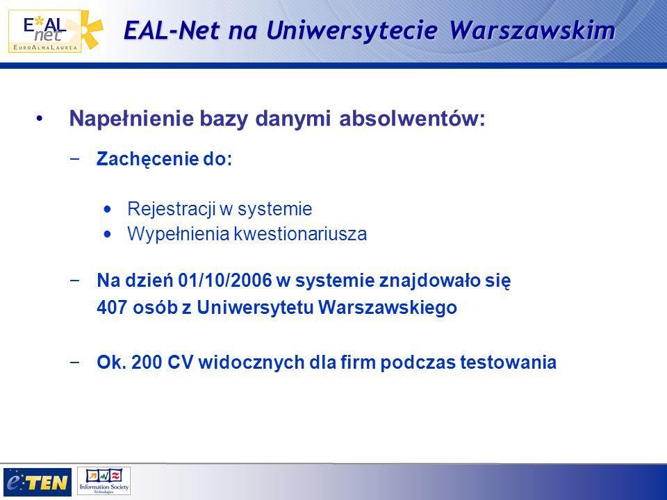 EAL-Net na Uniwersytecie Warszawskim Napełnienie bazy danymi absolwentów: – Zachęcenie do: Rejestracji w systemie Wypełnienia kwestionariusza – Na dzień 01/10/2006 w systemie znajdowało się 407 osób z Uniwersytetu Warszawskiego – Ok.