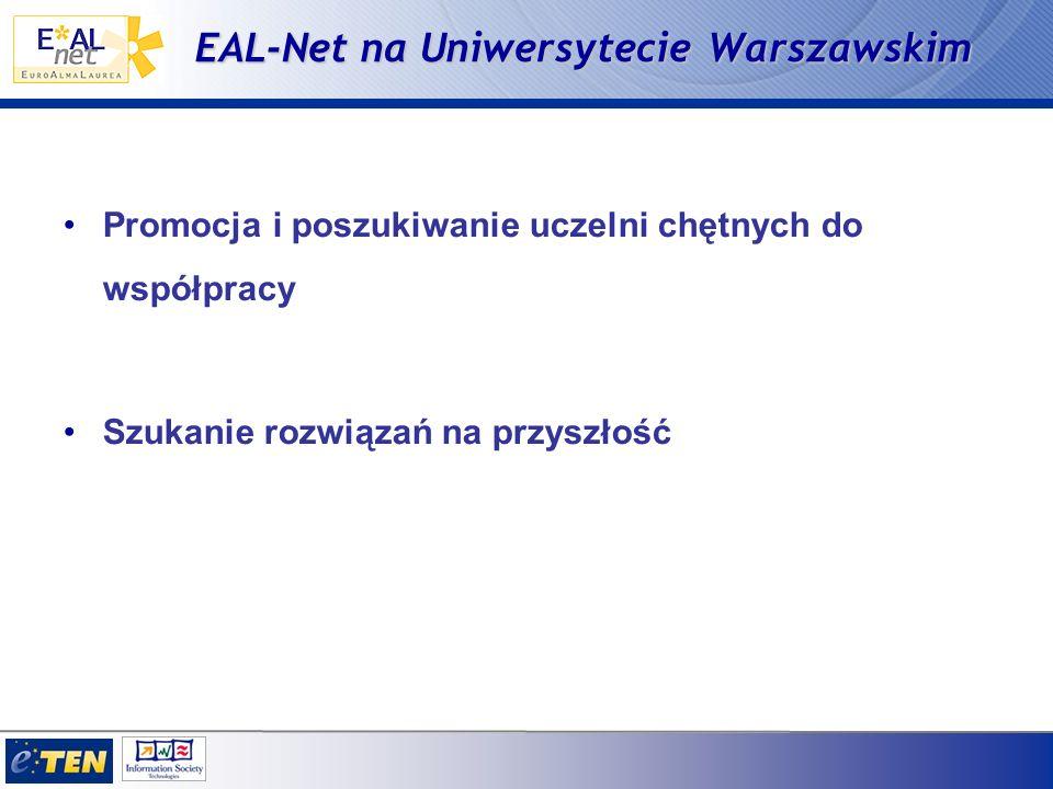 EAL-Net na Uniwersytecie Warszawskim Promocja i poszukiwanie uczelni chętnych do współpracy Szukanie rozwiązań na przyszłość