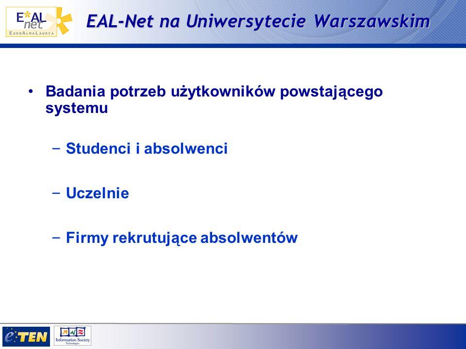 EAL-Net na Uniwersytecie Warszawskim Badania potrzeb użytkowników powstającego systemu – Studenci i absolwenci – Uczelnie – Firmy rekrutujące absolwentów