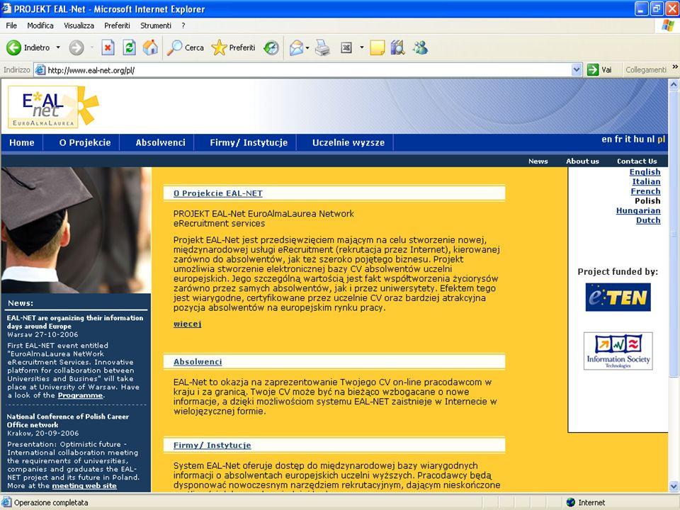 Projekt EAL-NET Perspektywy na przyszłość –Całkowite uruchomienie bazy danych począwszy od 2007 roku –Rozszerzenie projektu na nowe uczelnie –Stworzenie w każdym z państw konsorcji międzyuczelnianych na przykładzie AlmaLaurea –Uwrażliwienie organów rządowych na system uniwersytecki –Przyłaczenie do projektu Uczelni pochodzących z innych krajów, Europejskich i nie tylko
