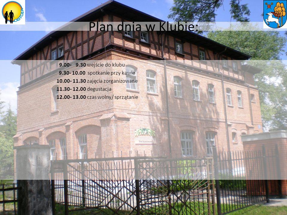 Plan dnia w Klubie: 9.00- 9.30 wejście do klubu 9.30- 10.00 spotkanie przy kawie 10.00- 11.30 zajęcia zorganizowane 11.30- 12.00 degustacja 12.00- 13.00 czas wolny/ sprzątanie