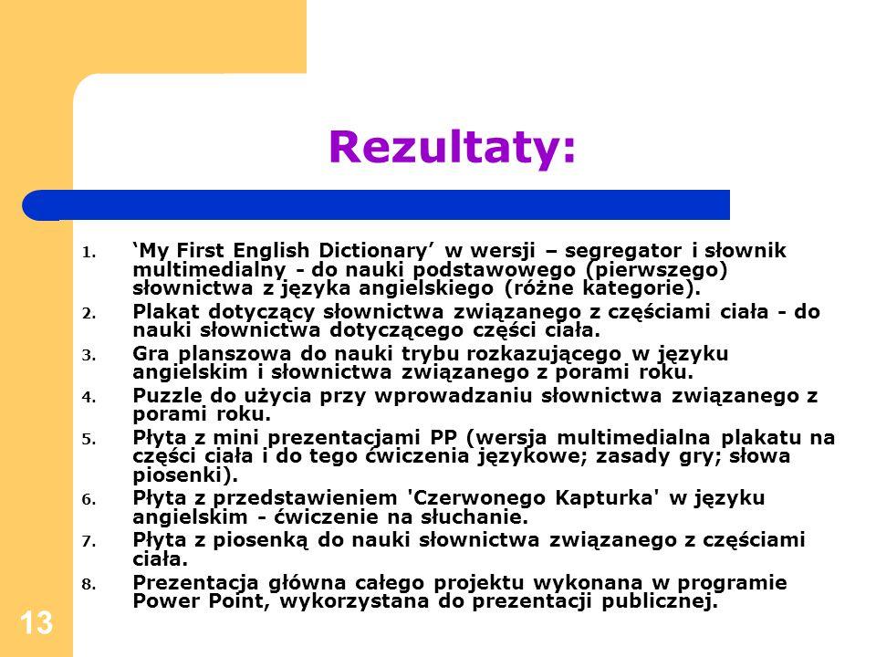 13 Rezultaty: 1. My First English Dictionary w wersji – segregator i słownik multimedialny - do nauki podstawowego (pierwszego) słownictwa z języka an