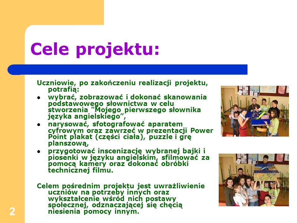 2 Cele projektu: Uczniowie, po zakończeniu realizacji projektu, potrafią: wybrać, zobrazować i dokonać skanowania podstawowego słownictwa w celu stwor