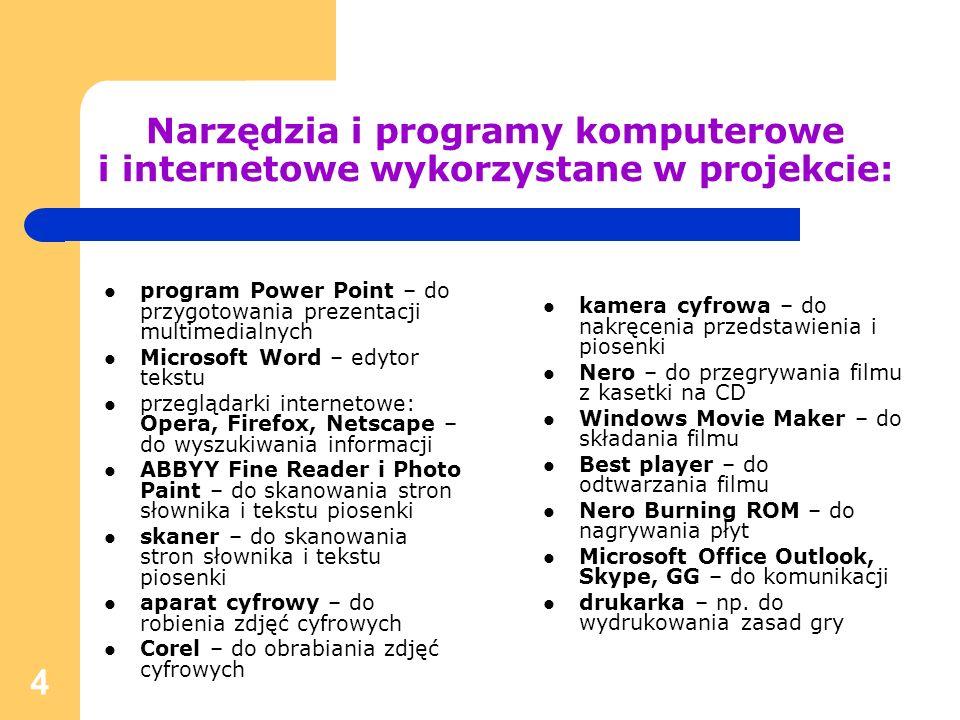 4 Narzędzia i programy komputerowe i internetowe wykorzystane w projekcie: program Power Point – do przygotowania prezentacji multimedialnych Microsof