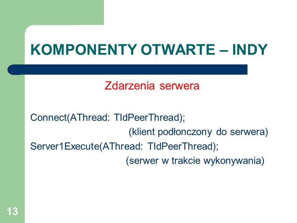 13 KOMPONENTY OTWARTE – INDY Zdarzenia serwera Connect(AThread: TIdPeerThread); (klient podłonczony do serwera) Server1Execute(AThread: TIdPeerThread)